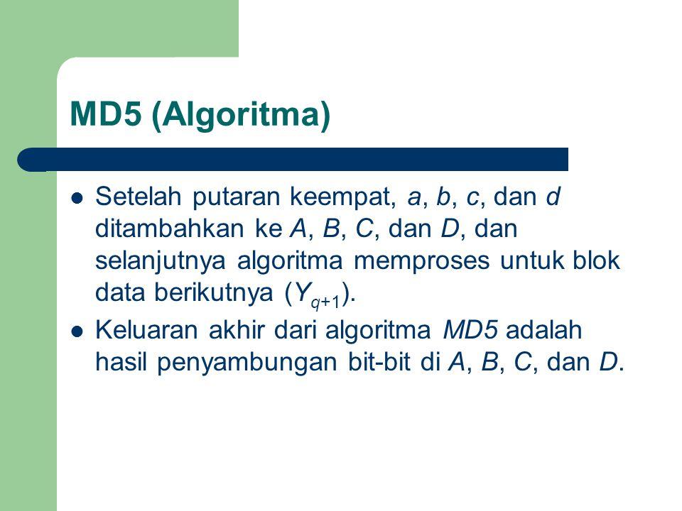 MD5 (Algoritma) Setelah putaran keempat, a, b, c, dan d ditambahkan ke A, B, C, dan D, dan selanjutnya algoritma memproses untuk blok data berikutnya (Y q+1 ).