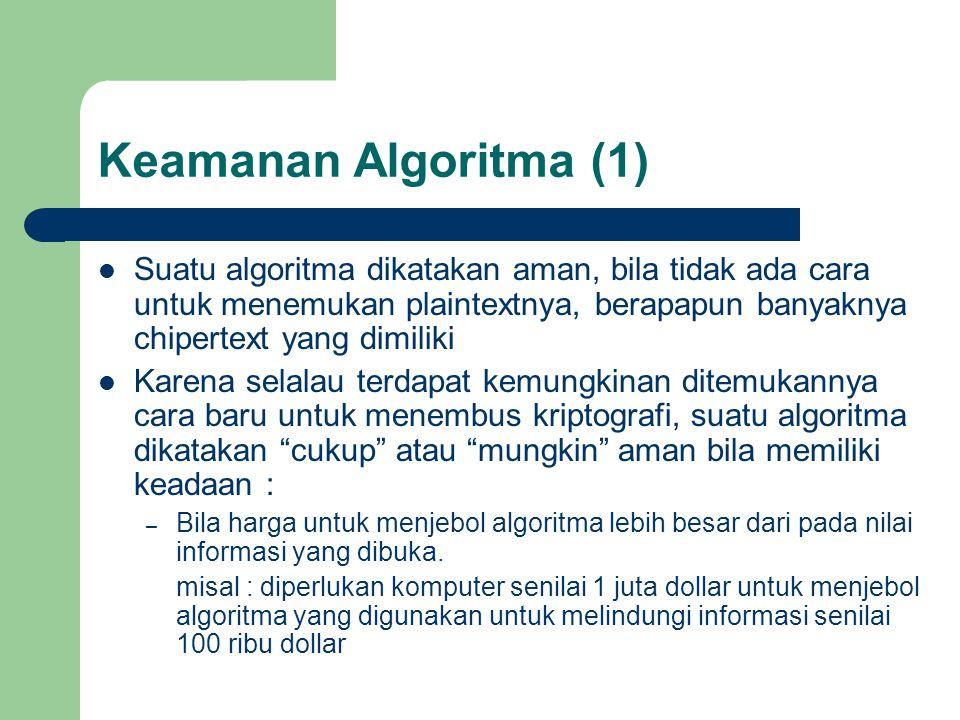 Keamanan Algoritma (1) Suatu algoritma dikatakan aman, bila tidak ada cara untuk menemukan plaintextnya, berapapun banyaknya chipertext yang dimiliki Karena selalau terdapat kemungkinan ditemukannya cara baru untuk menembus kriptografi, suatu algoritma dikatakan cukup atau mungkin aman bila memiliki keadaan : – Bila harga untuk menjebol algoritma lebih besar dari pada nilai informasi yang dibuka.