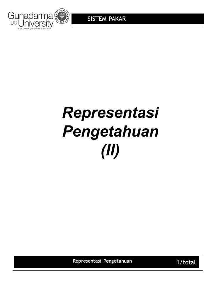 SISTEM PAKAR Representasi Pengetahuan 12/total QUANTIFIER UNIVERSAL (  ) Menyatakan untuk setiap atau untuk semua Contoh : p menunjukkan kalimat seluruh kucing adalah binatang (  x) (p)  (  x) (if x adalah seekor kucing  x adalah seekor binatang) atau (  x) (x is a cat  x is a animal) Negasi : (  x) (p)  (  x) (if x is a cat  ~x is a animal) Bagaimana kalimat matematika untuk seluruh segitiga adalah poligon .
