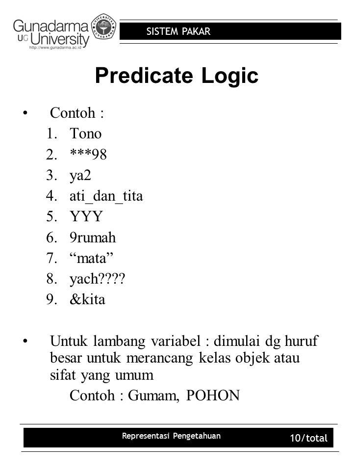 "SISTEM PAKAR Representasi Pengetahuan 10/total Predicate Logic Contoh : 1.Tono 2.***98 3.ya2 4.ati_dan_tita 5.YYY 6.9rumah 7.""mata"" 8.yach???? 9.&kita"