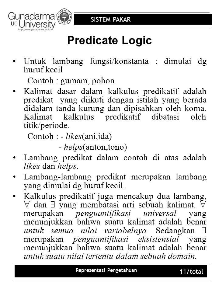 SISTEM PAKAR Representasi Pengetahuan 11/total Predicate Logic Untuk lambang fungsi/konstanta : dimulai dg huruf kecil Contoh : gumam, pohon Kalimat d