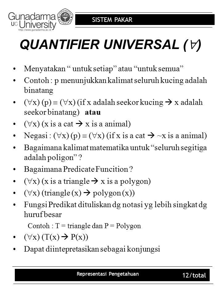"""SISTEM PAKAR Representasi Pengetahuan 12/total QUANTIFIER UNIVERSAL (  ) Menyatakan """" untuk setiap"""" atau """"untuk semua"""" Contoh : p menunjukkan kalimat"""