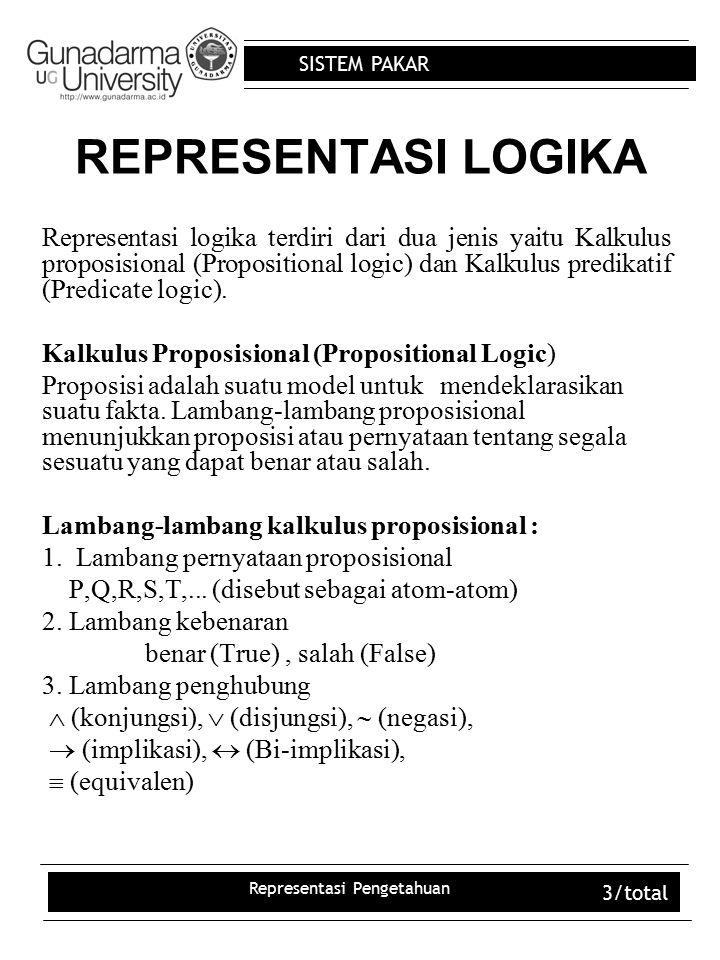 SISTEM PAKAR Representasi Pengetahuan 3/total REPRESENTASI LOGIKA Representasi logika terdiri dari dua jenis yaitu Kalkulus proposisional (Proposition