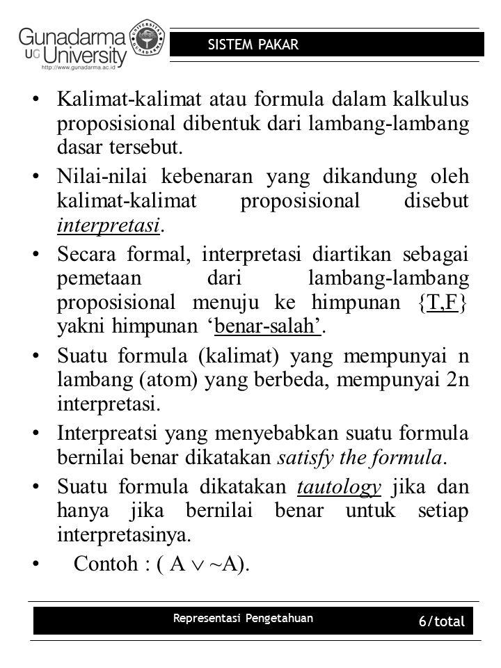 SISTEM PAKAR Representasi Pengetahuan 6/total Kalimat-kalimat atau formula dalam kalkulus proposisional dibentuk dari lambang-lambang dasar tersebut.