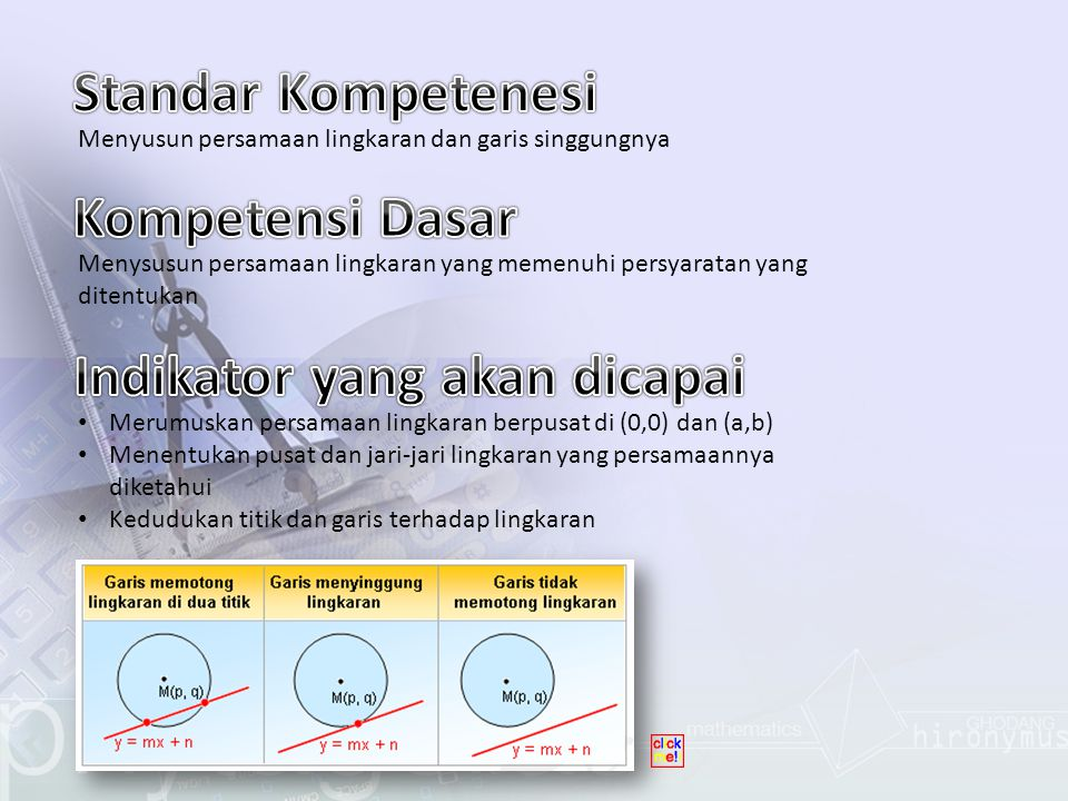 Lingkaran adalah garis lengkung yang kedua ujungnya bertemu pada satu titik.