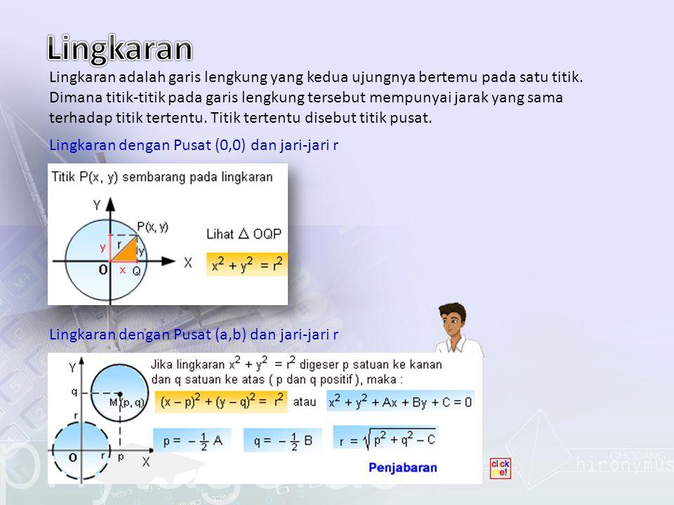 Tentukan persamaan lingkaran : a.Pusat O dan jari-jari melalui titik (4,6) b.Diameter AB dimana A(0,0) dan B(6,8)