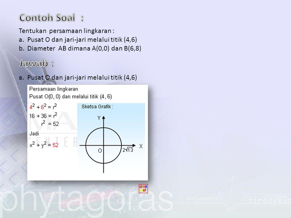 Tentukan kedudukan garis terhadap lingkaran dengan cara menghitung nilai diskriminan dan dengan cara melukis .