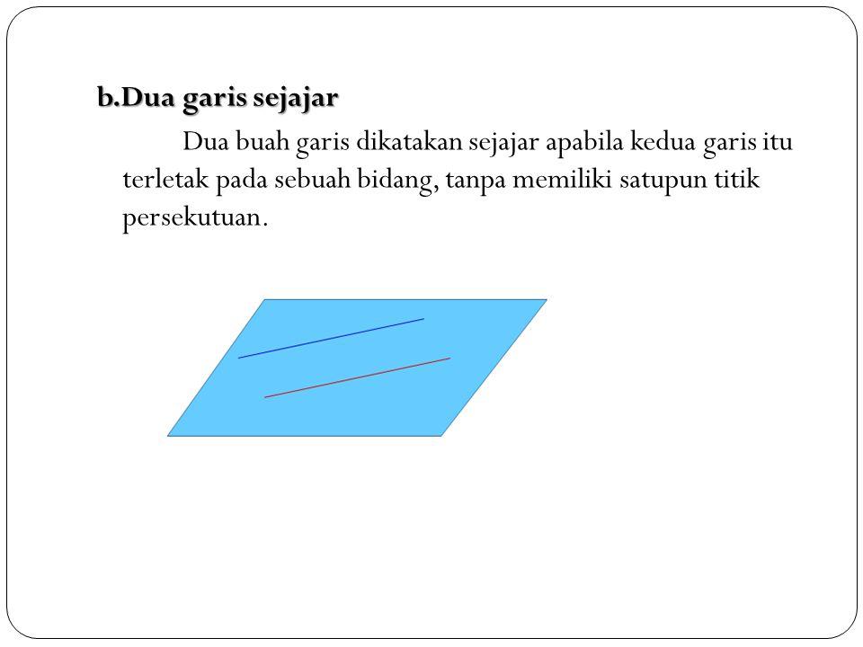 b.Dua garis sejajar Dua buah garis dikatakan sejajar apabila kedua garis itu terletak pada sebuah bidang, tanpa memiliki satupun titik persekutuan.
