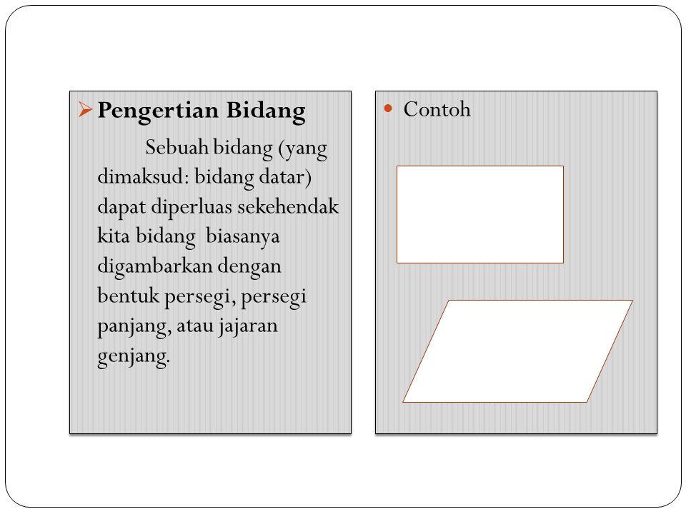  Pengertian Bidang Sebuah bidang (yang dimaksud: bidang datar) dapat diperluas sekehendak kita bidang biasanya digambarkan dengan bentuk persegi, per