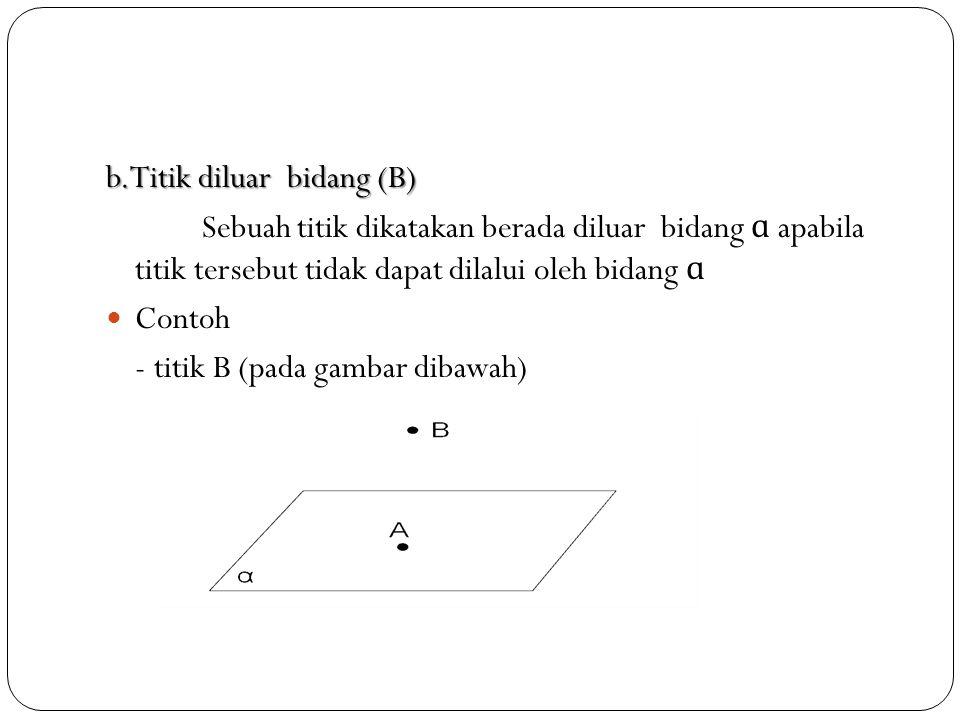 b.Titik diluar bidang (B) Sebuah titik dikatakan berada diluar bidang ɑ apabila titik tersebut tidak dapat dilalui oleh bidang ɑ Contoh - titik B (pada gambar dibawah)