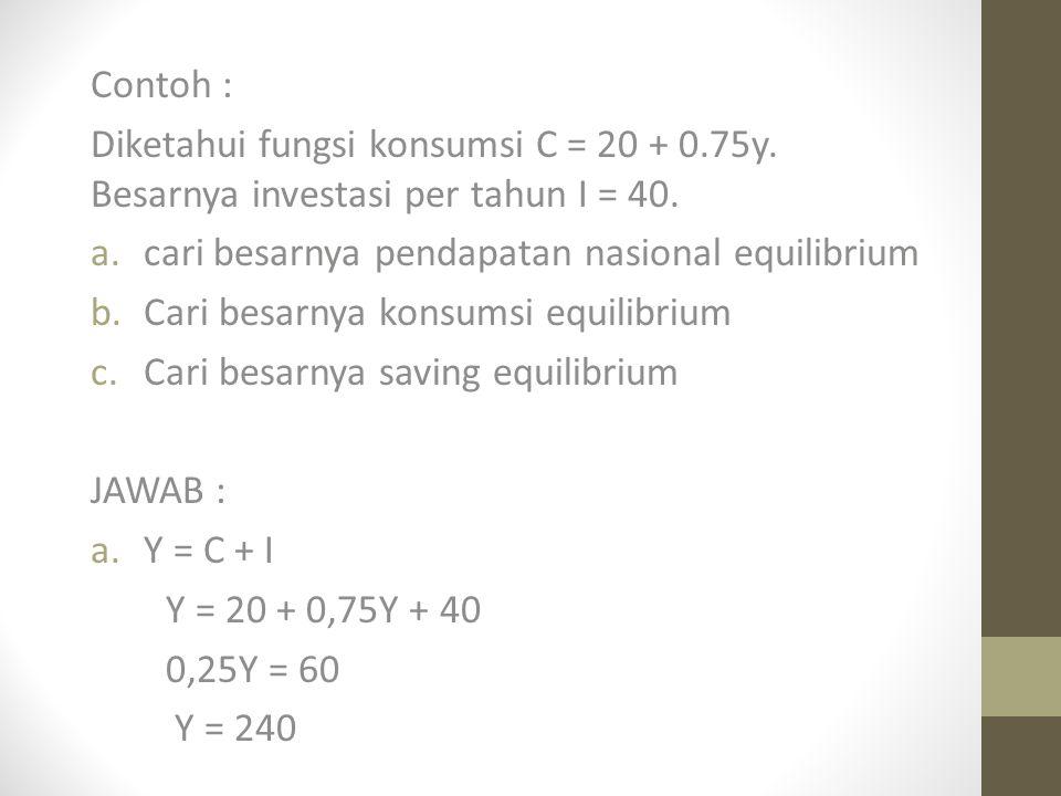 Contoh : Diketahui fungsi konsumsi C = 20 + 0.75y.