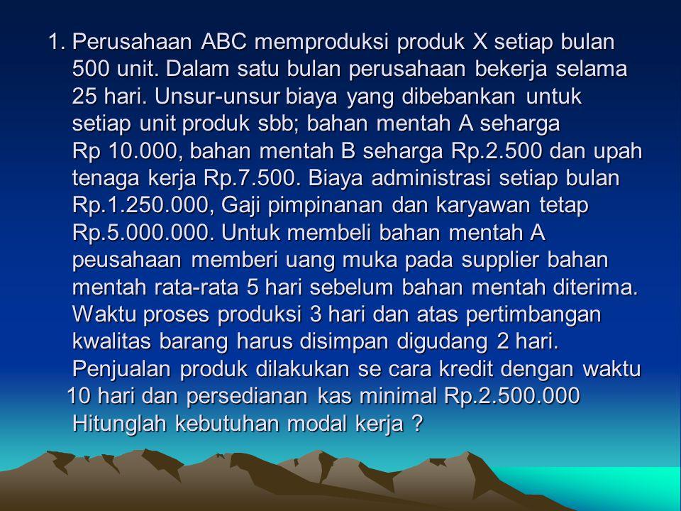 1. Perusahaan ABC memproduksi produk X setiap bulan 500 unit. Dalam satu bulan perusahaan bekerja selama 25 hari. Unsur-unsur biaya yang dibebankan un