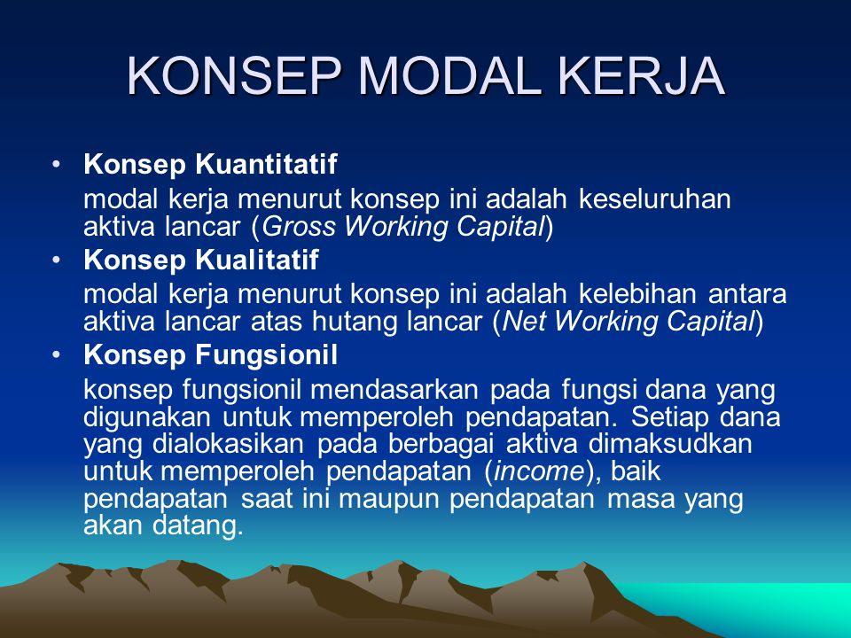 KONSEP MODAL KERJA Konsep Kuantitatif modal kerja menurut konsep ini adalah keseluruhan aktiva lancar (Gross Working Capital) Konsep Kualitatif modal