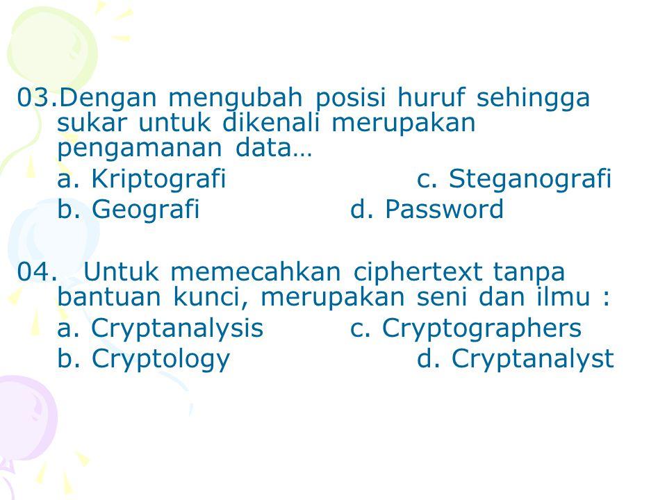 03.Dengan mengubah posisi huruf sehingga sukar untuk dikenali merupakan pengamanan data… a.