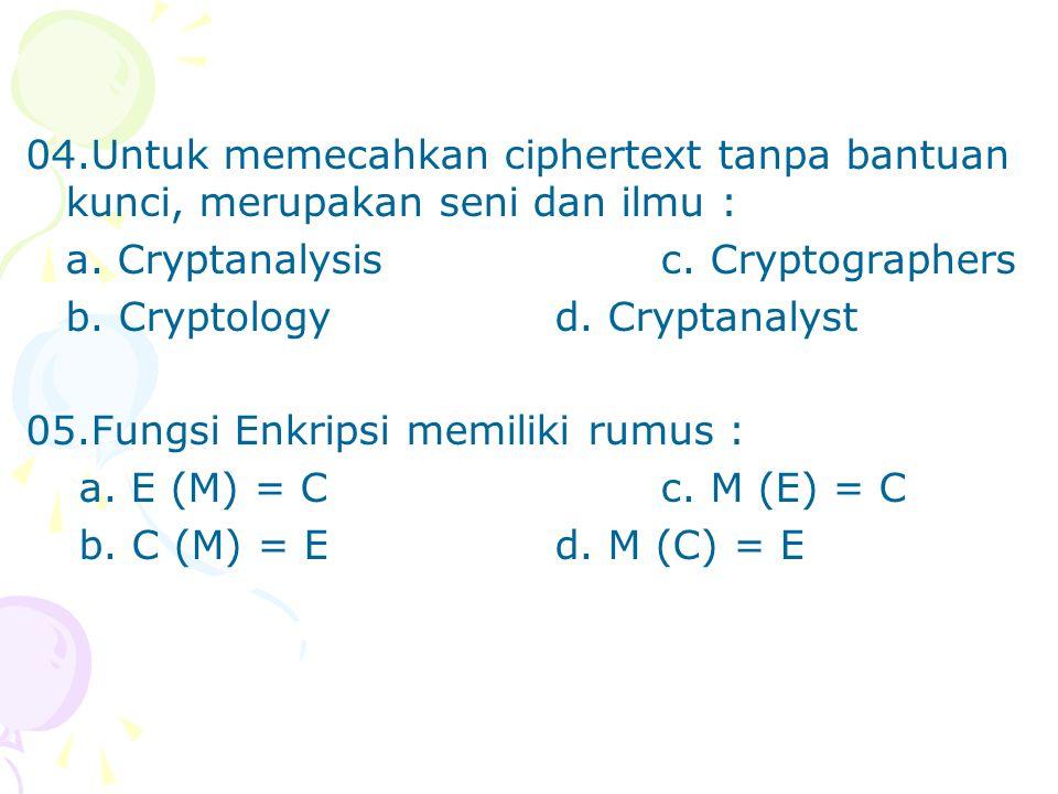 04.Untuk memecahkan ciphertext tanpa bantuan kunci, merupakan seni dan ilmu : a.