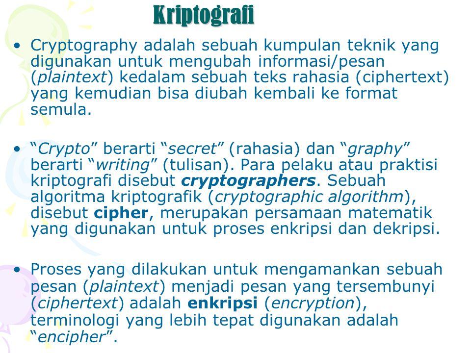 Kriptografi Cryptography adalah sebuah kumpulan teknik yang digunakan untuk mengubah informasi/pesan (plaintext) kedalam sebuah teks rahasia (ciphertext) yang kemudian bisa diubah kembali ke format semula.