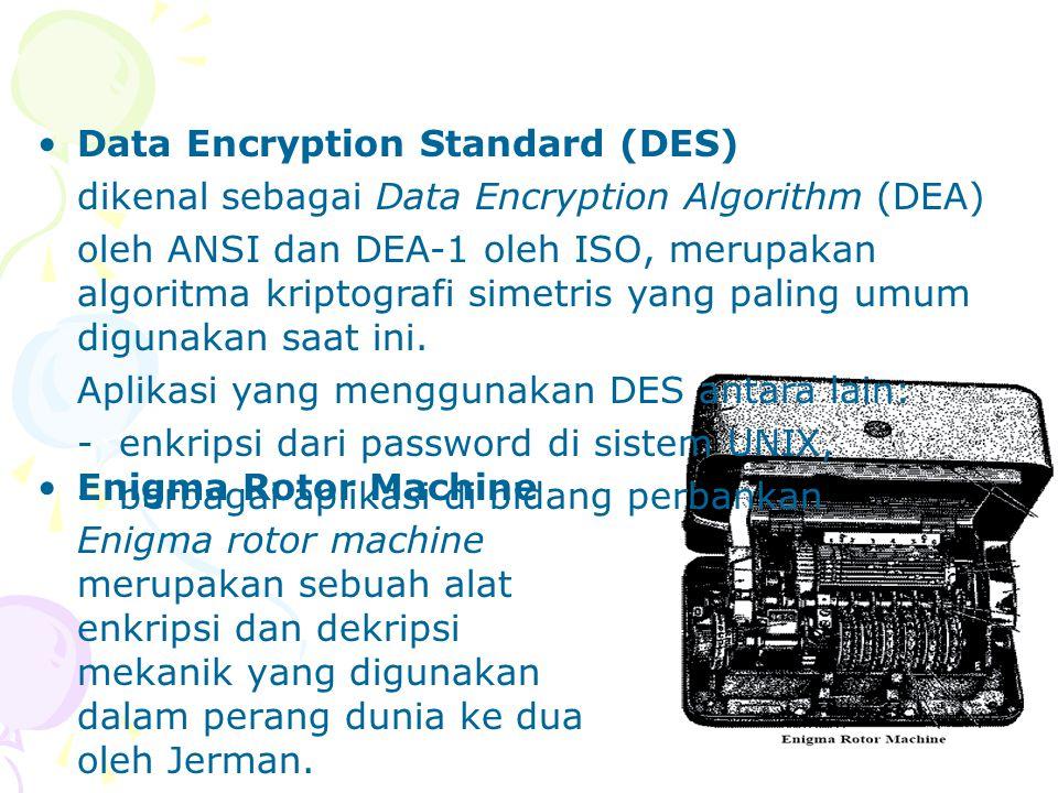 Aplikasi dari Enkripsi Contoh penggunaan enkripsi adalah program Pretty Good Privacy (PGP), dan secure shell (SSH).
