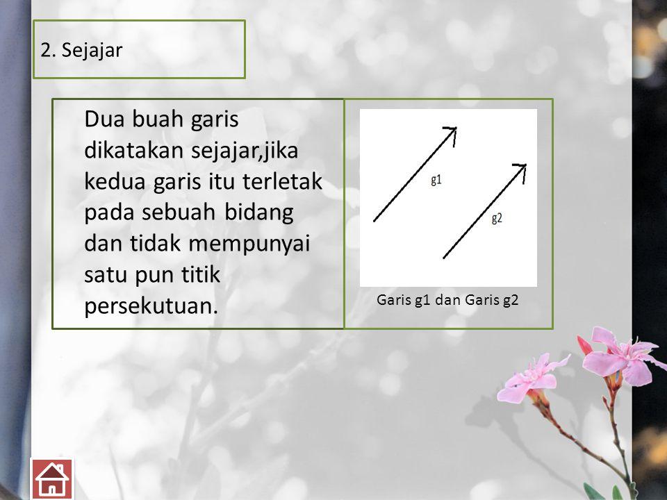 2. Sejajar Dua buah garis dikatakan sejajar,jika kedua garis itu terletak pada sebuah bidang dan tidak mempunyai satu pun titik persekutuan. Garis g1
