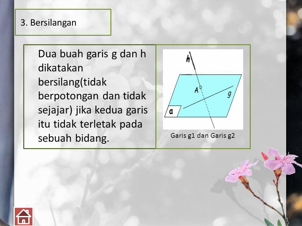 3. Bersilangan Dua buah garis g dan h dikatakan bersilang(tidak berpotongan dan tidak sejajar) jika kedua garis itu tidak terletak pada sebuah bidang.