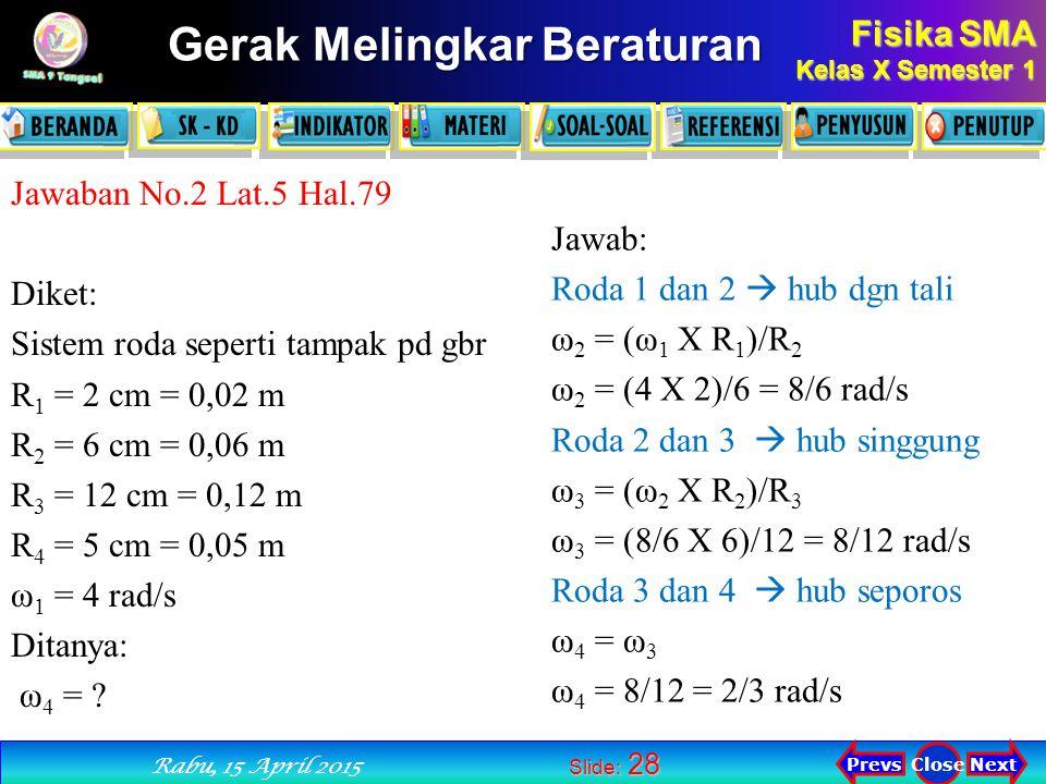 Fisika SMA Kelas X Semester 1 Next PrevsClose Rabu, 15 April 2015 Gerak Melingkar Beraturan Slide: 28 Jawaban No.2 Lat.5 Hal.79 Diket: Sistem roda seperti tampak pd gbr R 1 = 2 cm = 0,02 m R 2 = 6 cm = 0,06 m R 3 = 12 cm = 0,12 m R 4 = 5 cm = 0,05 m ω 1 = 4 rad/s Ditanya: ω 4 = .