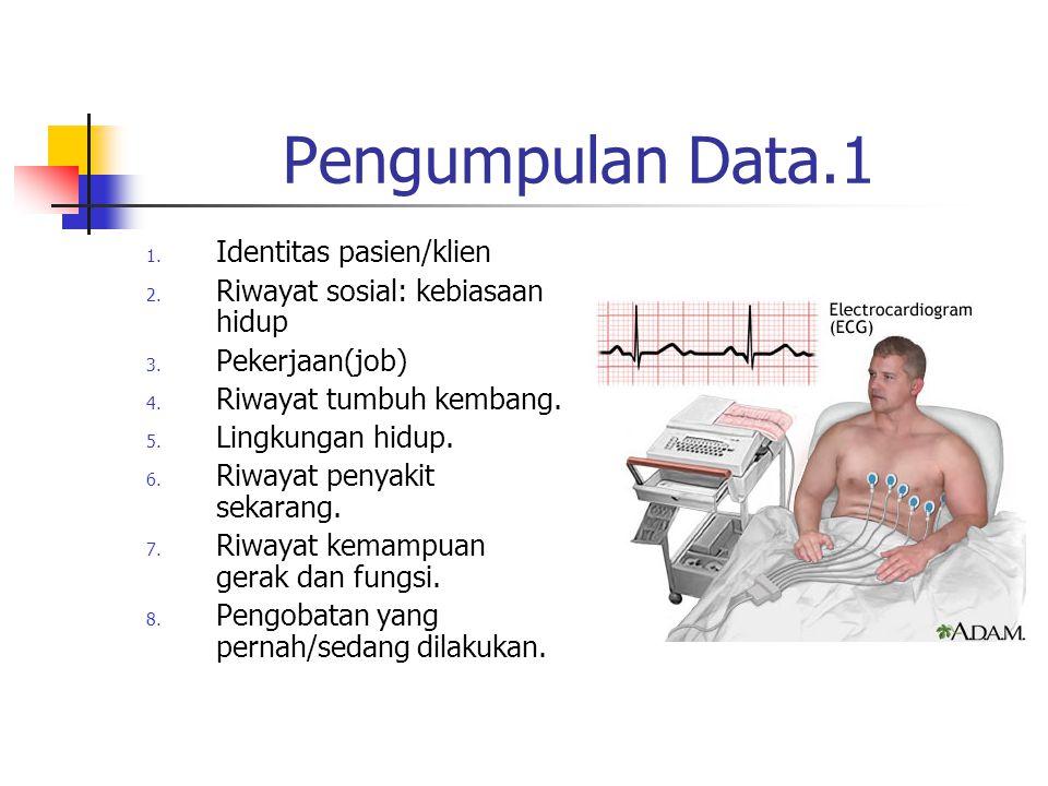 Pengumpulan Data.1 1. Identitas pasien/klien 2. Riwayat sosial: kebiasaan hidup 3. Pekerjaan(job) 4. Riwayat tumbuh kembang. 5. Lingkungan hidup. 6. R