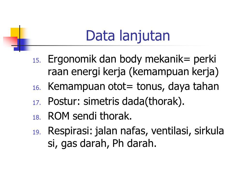 Data lanjutan 15. Ergonomik dan body mekanik= perki raan energi kerja (kemampuan kerja) 16. Kemampuan otot= tonus, daya tahan 17. Postur: simetris dad
