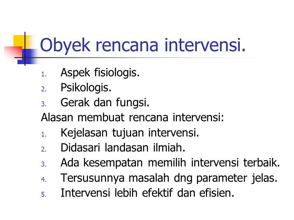 Obyek rencana intervensi. 1. Aspek fisiologis. 2. Psikologis. 3. Gerak dan fungsi. Alasan membuat rencana intervensi: 1. Kejelasan tujuan intervensi.