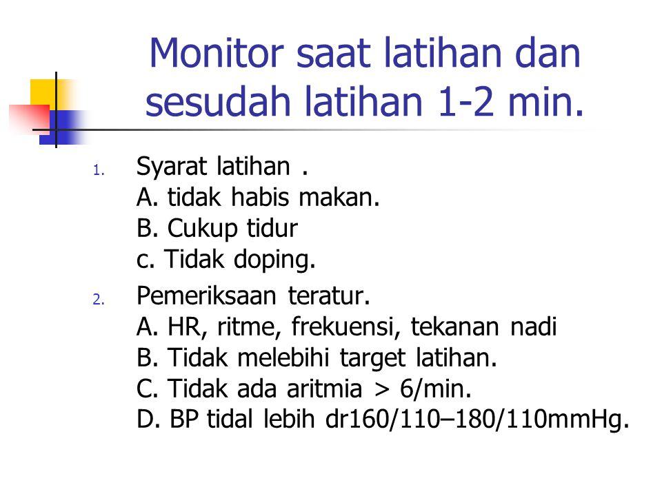 Monitor saat latihan dan sesudah latihan 1-2 min. 1. Syarat latihan. A. tidak habis makan. B. Cukup tidur c. Tidak doping. 2. Pemeriksaan teratur. A.
