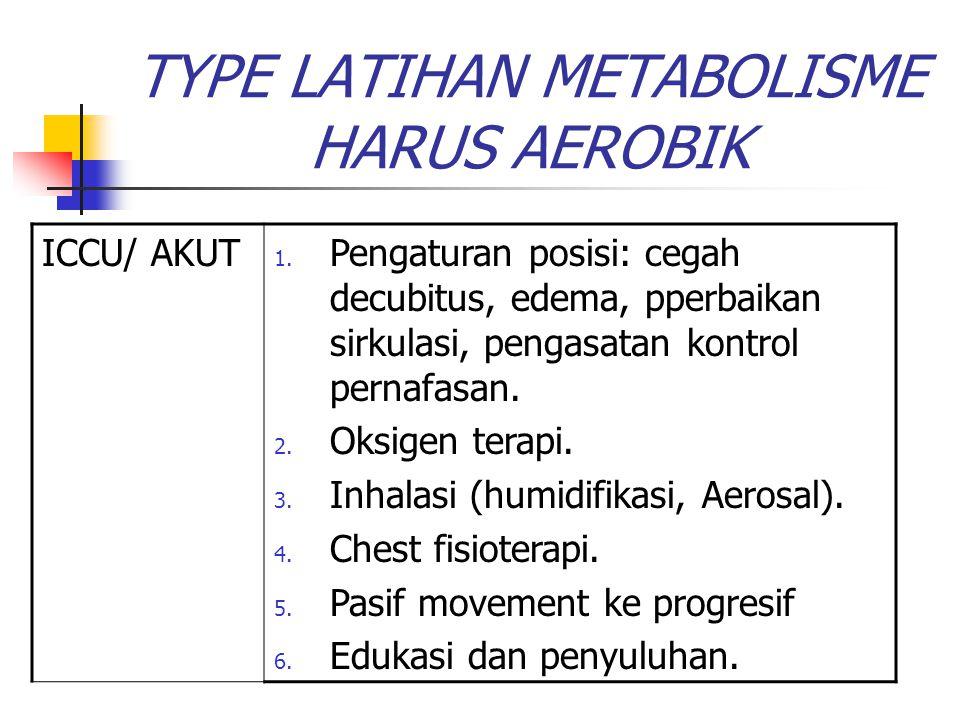 TYPE LATIHAN METABOLISME HARUS AEROBIK ICCU/ AKUT 1. Pengaturan posisi: cegah decubitus, edema, pperbaikan sirkulasi, pengasatan kontrol pernafasan. 2