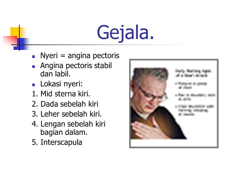 Gejala. Nyeri = angina pectoris Angina pectoris stabil dan labil. Lokasi nyeri: 1. Mid sterna kiri. 2. Dada sebelah kiri 3. Leher sebelah kiri. 4. Len