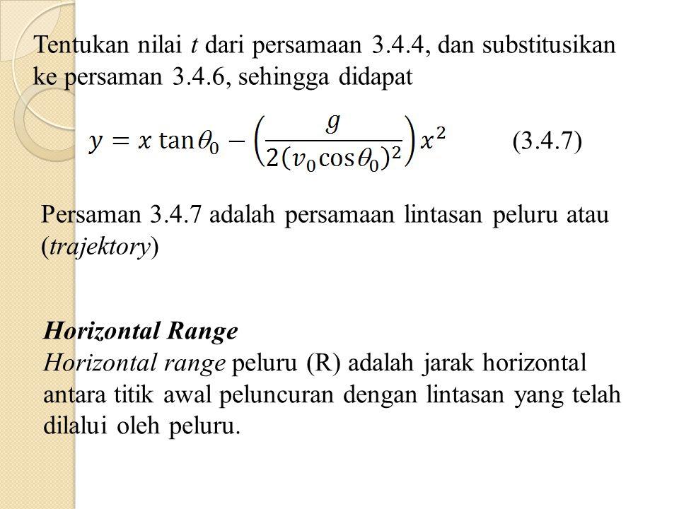 Tentukan nilai t dari persamaan 3.4.4, dan substitusikan ke persaman 3.4.6, sehingga didapat (3.4.7) Persaman 3.4.7 adalah persamaan lintasan peluru atau (trajektory) Horizontal Range Horizontal range peluru (R) adalah jarak horizontal antara titik awal peluncuran dengan lintasan yang telah dilalui oleh peluru.