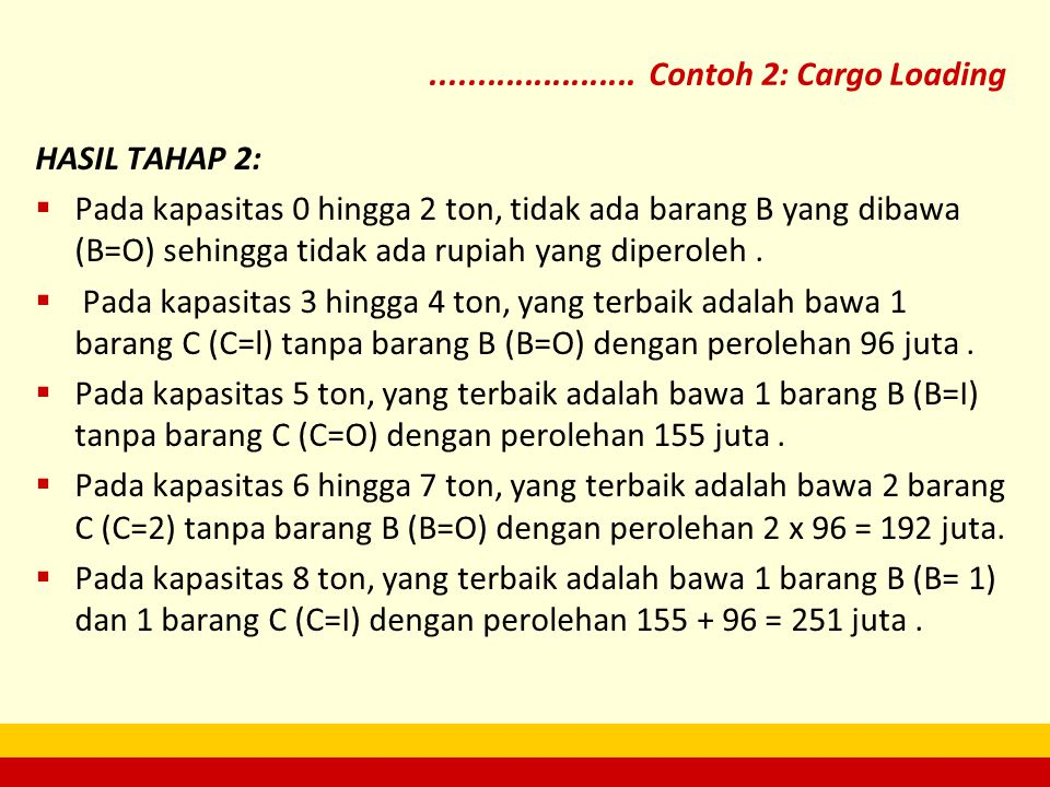 HASIL TAHAP 2:  Pada kapasitas 0 hingga 2 ton, tidak ada barang B yang dibawa (B=O) sehingga tidak ada rupiah yang diperoleh.  Pada kapasitas 3 hing