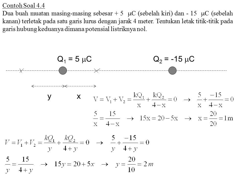 Contoh Soal 4.4 Dua buah muatan masing-masing sebesar + 5  C (sebelah kiri) dan - 15  C (sebelah kanan) terletak pada satu garis lurus dengan jarak 4 meter.