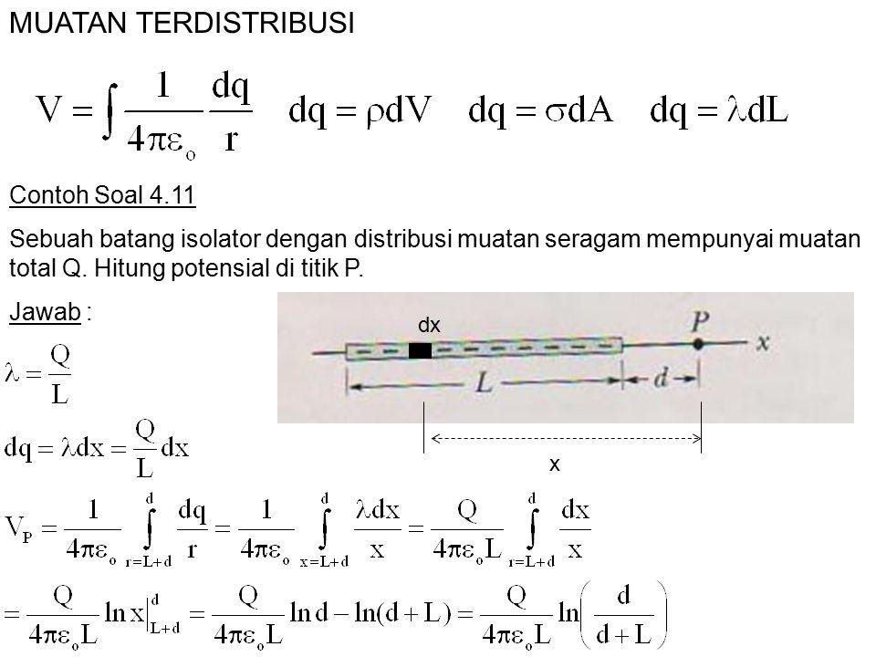 MUATAN TERDISTRIBUSI Contoh Soal 4.11 Sebuah batang isolator dengan distribusi muatan seragam mempunyai muatan total Q. Hitung potensial di titik P. x