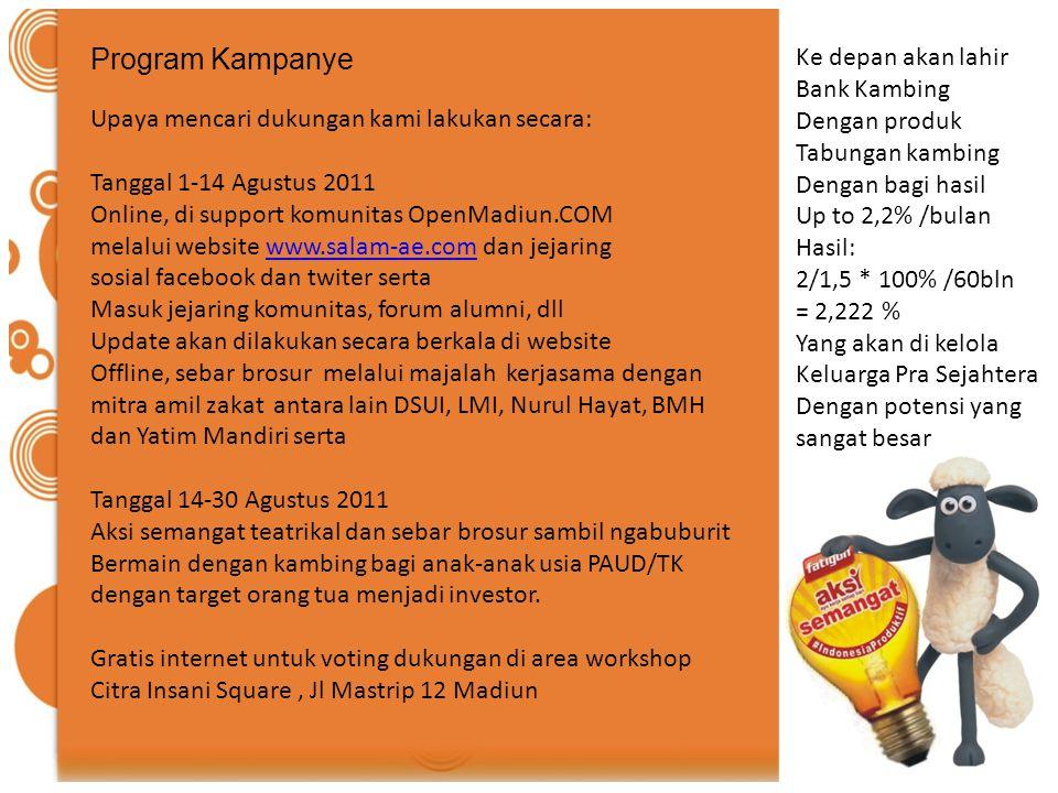 Program Kampanye Upaya mencari dukungan kami lakukan secara: Tanggal 1-14 Agustus 2011 Online, di support komunitas OpenMadiun.COM melalui website www