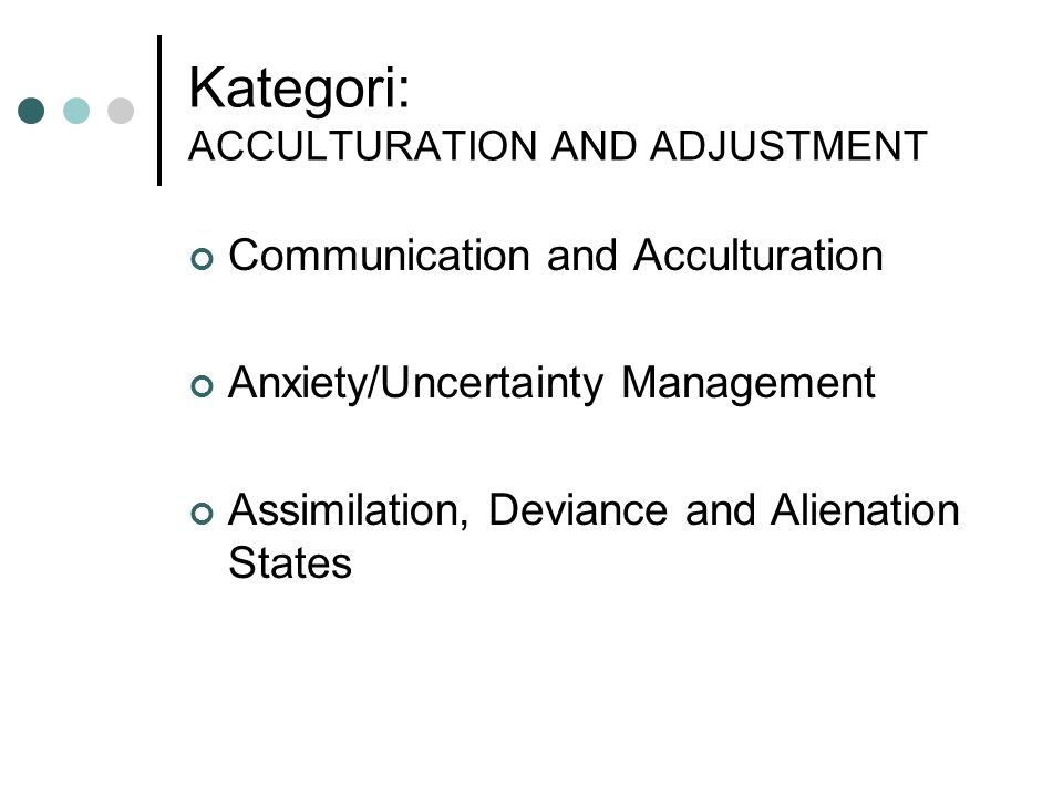 Kategori: ACCULTURATION AND ADJUSTMENT Communication and Acculturation Anxiety/Uncertainty Management Assimilation, Deviance and Alienation States