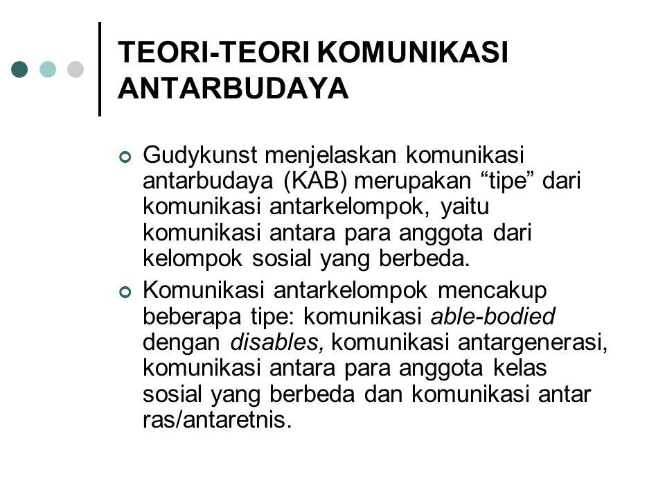 "TEORI-TEORI KOMUNIKASI ANTARBUDAYA Gudykunst menjelaskan komunikasi antarbudaya (KAB) merupakan ""tipe"" dari komunikasi antarkelompok, yaitu komunikasi"