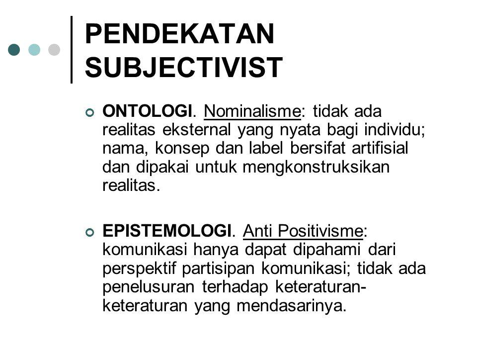 PENDEKATAN SUBJECTIVIST ONTOLOGI. Nominalisme: tidak ada realitas eksternal yang nyata bagi individu; nama, konsep dan label bersifat artifisial dan d