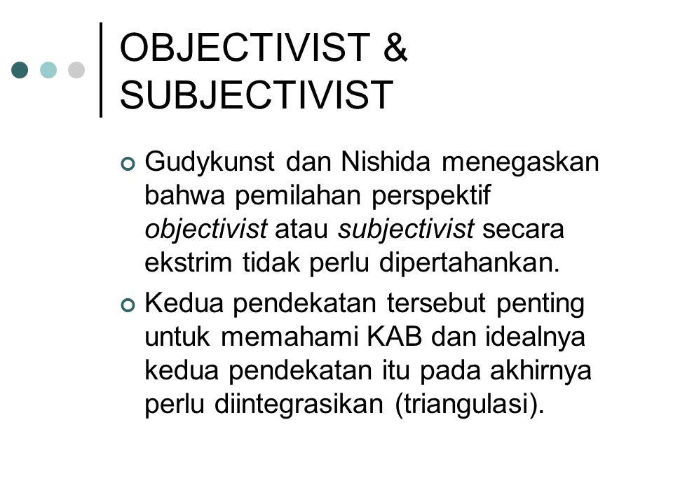 OBJECTIVIST & SUBJECTIVIST Gudykunst dan Nishida menegaskan bahwa pemilahan perspektif objectivist atau subjectivist secara ekstrim tidak perlu dipert