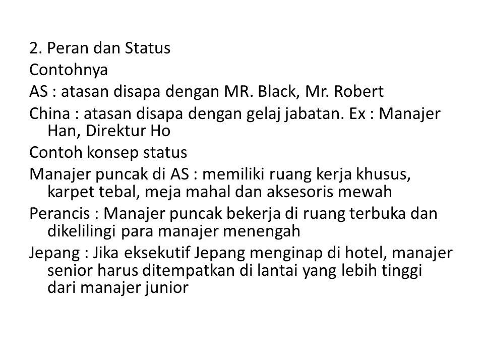 2. Peran dan Status Contohnya AS : atasan disapa dengan MR. Black, Mr. Robert China : atasan disapa dengan gelaj jabatan. Ex : Manajer Han, Direktur H