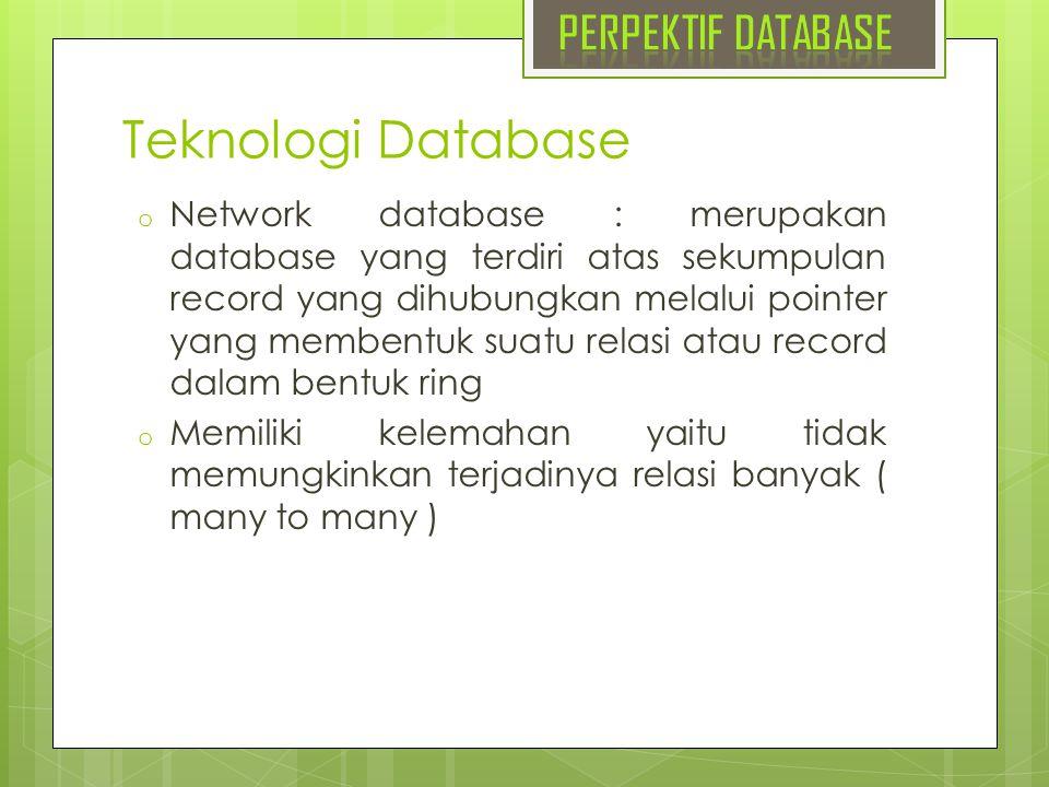 Teknologi Database o Network database : merupakan database yang terdiri atas sekumpulan record yang dihubungkan melalui pointer yang membentuk suatu r