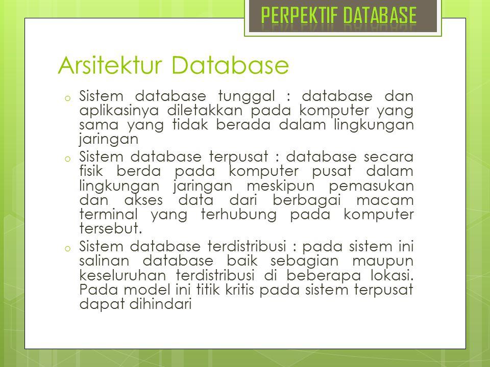 Arsitektur Database o Sistem database tunggal : database dan aplikasinya diletakkan pada komputer yang sama yang tidak berada dalam lingkungan jaringa
