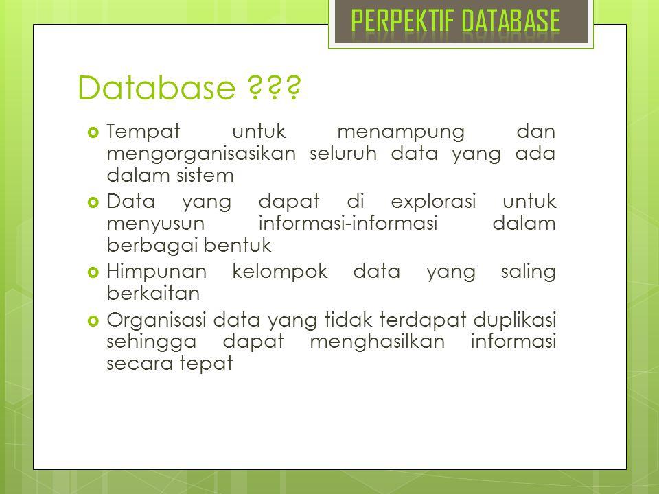 Database ???  Tempat untuk menampung dan mengorganisasikan seluruh data yang ada dalam sistem  Data yang dapat di explorasi untuk menyusun informasi