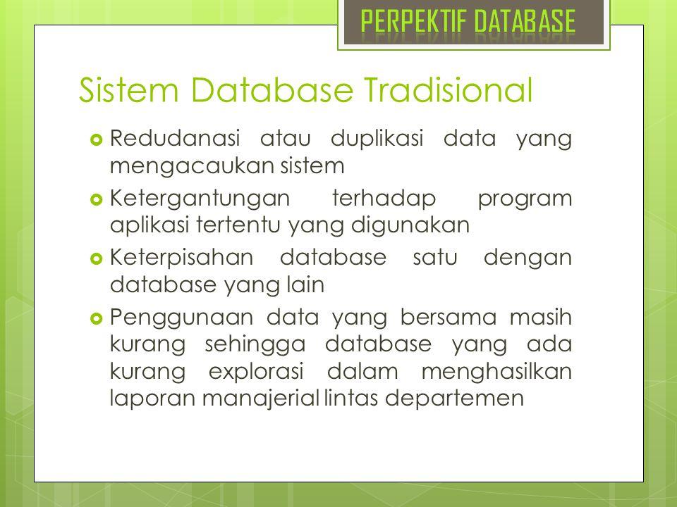 Sistem Database Tradisional  Redudanasi atau duplikasi data yang mengacaukan sistem  Ketergantungan terhadap program aplikasi tertentu yang digunaka