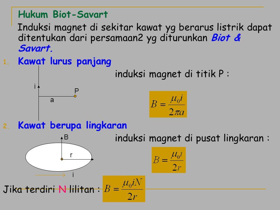 Hukum Biot-Savart Induksi magnet di sekitar kawat yg berarus listrik dapat ditentukan dari persamaan2 yg diturunkan Biot & Savart. 1. Kawat lurus panj