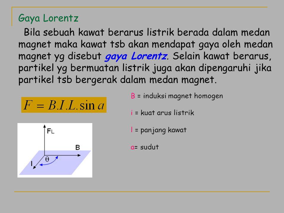 Gaya Lorentz Bila sebuah kawat berarus listrik berada dalam medan magnet maka kawat tsb akan mendapat gaya oleh medan magnet yg disebut gaya Lorentz.