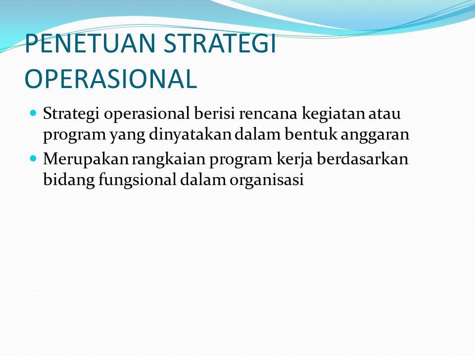 PENETUAN STRATEGI OPERASIONAL Strategi operasional berisi rencana kegiatan atau program yang dinyatakan dalam bentuk anggaran Merupakan rangkaian prog