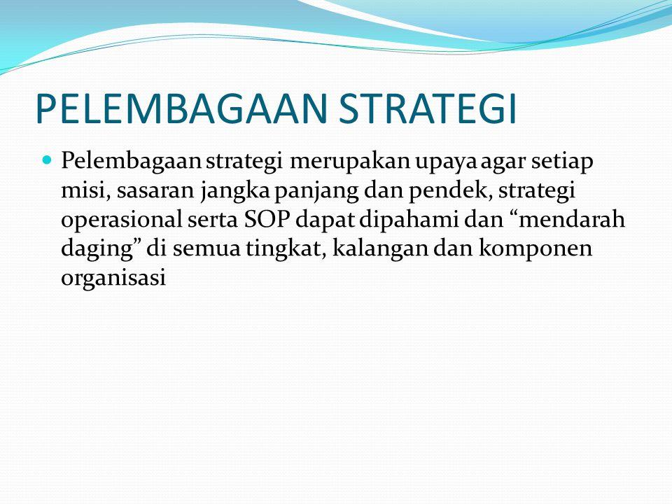 PELEMBAGAAN STRATEGI Pelembagaan strategi merupakan upaya agar setiap misi, sasaran jangka panjang dan pendek, strategi operasional serta SOP dapat di