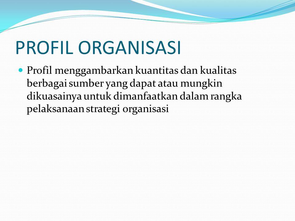 PROFIL ORGANISASI Profil menggambarkan kuantitas dan kualitas berbagai sumber yang dapat atau mungkin dikuasainya untuk dimanfaatkan dalam rangka pela