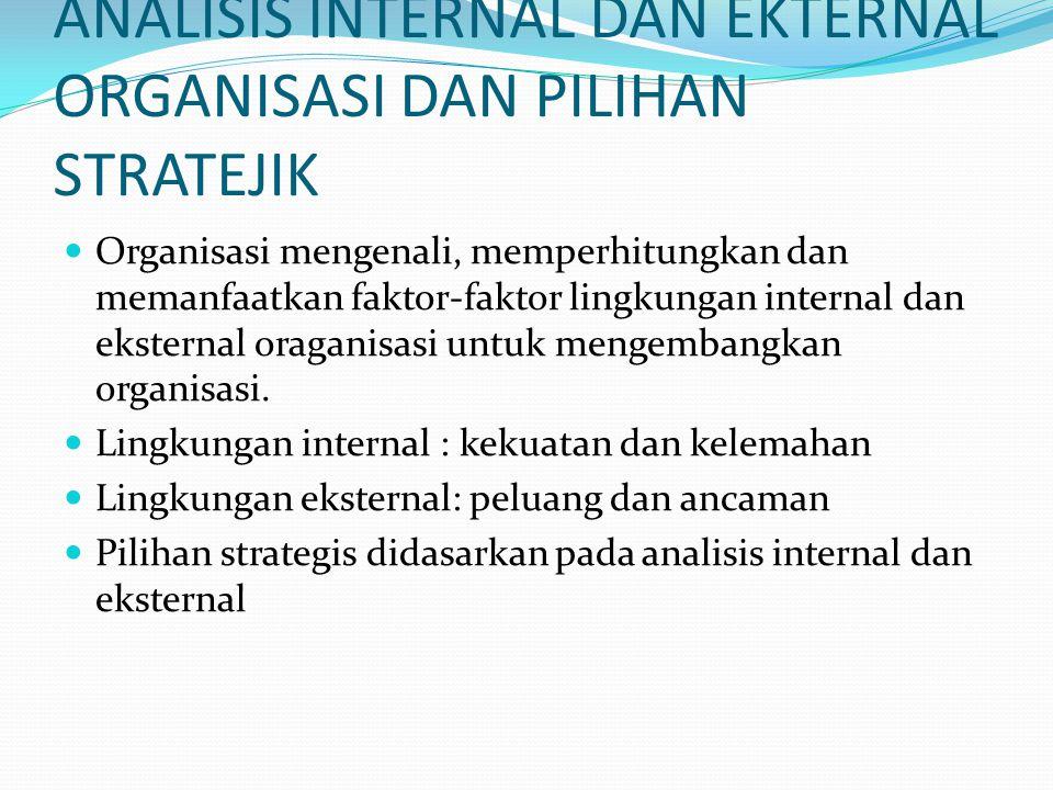 ANALISIS INTERNAL DAN EKTERNAL ORGANISASI DAN PILIHAN STRATEJIK Organisasi mengenali, memperhitungkan dan memanfaatkan faktor-faktor lingkungan intern